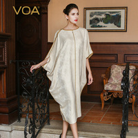 VOA 2017 Autumn Plus Size Loose Beige Batwing Sleeve Muslim Robe Dress High Quality Silk Jacquard