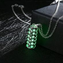 GOMAYA European and American Popular Cylindrical with Star Dot Hollow Pendant Luminous Necklace for Women Men Jewelry