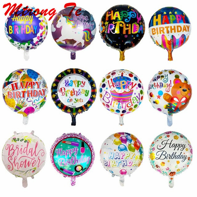 Genteel 10pcs Happy Birthday 18inch Celebration Round Shape Foil Helium Balloons For Childrens Birthday Party Balloon Kids Toys Globs Shrink-Proof Home & Garden Event & Party