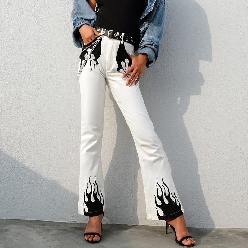 White Casual Wide Leg Pants Women Fashion High Waist Flared Trousers Flame Print Bell Bottom Pants Capris Streetwear Pants