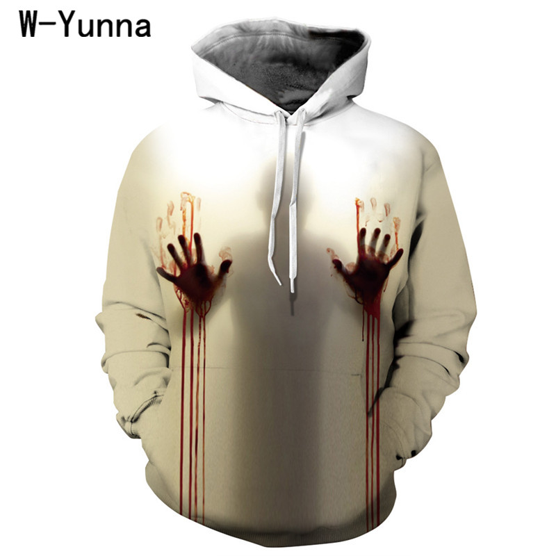 100% Quality W-yunna New Autumn 3d Print Hoodies Women Blood Handprints Design Loose Fashion Moletom Feminino Leisure Streetwear Tracksuits Providing Amenities For The People; Making Life Easier For The Population Women's Clothing
