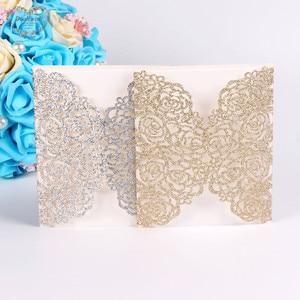 Image 1 - Dualswish 50 개/몫 로맨틱 레이저 컷 꽃 초대 카드 반짝이 종이 결혼식 초대 카드 결혼식 파티 용품