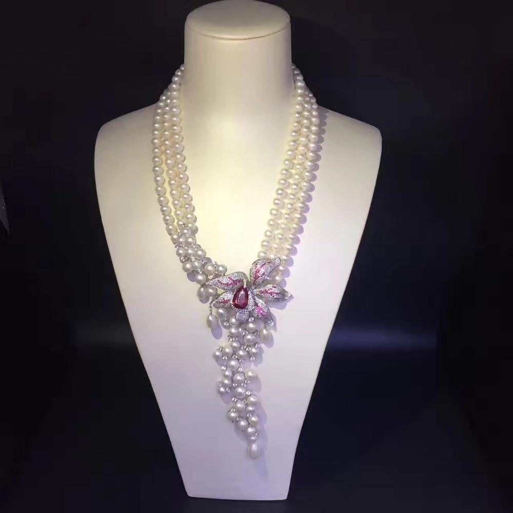 Collier de perles d'eau douce naturelle 16 pouces multi couches 925 argent sterling avec collier de mariage en zircon cubique