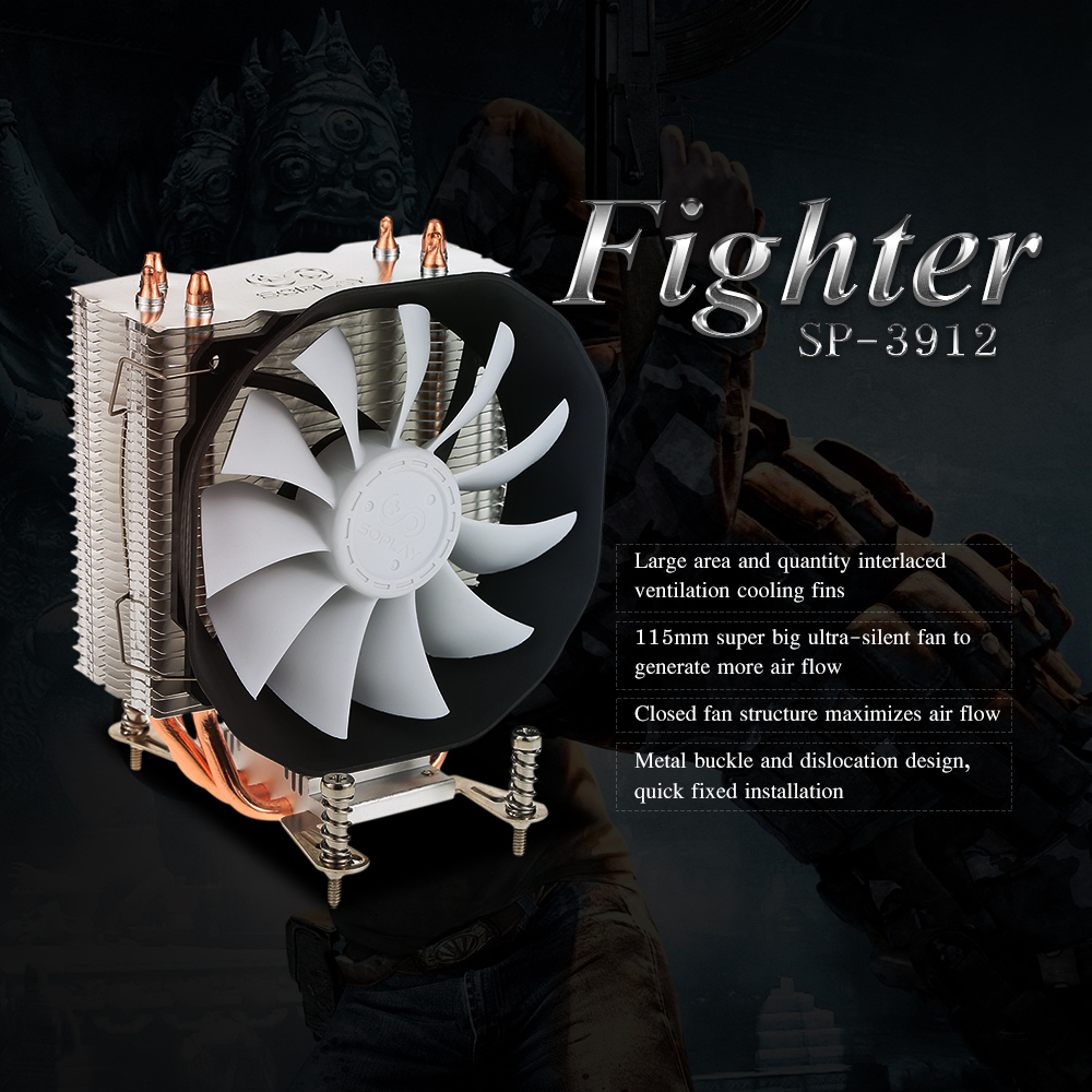 SOPLAY CPU Cooler 3 Heatpipes 4pin 12cm PWM Fan PC Computer for Intel AMD CPU Cooling Radiator Fan PC Computer Desktop Cooler qqv6 aluminum alloy 11 blade cooling fan for graphics card silver 12cm