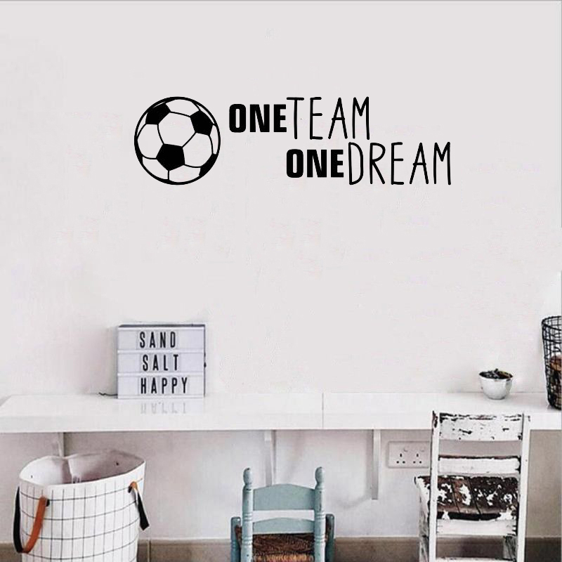 Stizzy Wall Decal Soccer Quotes One Team One Dream Wall Sticker Boy