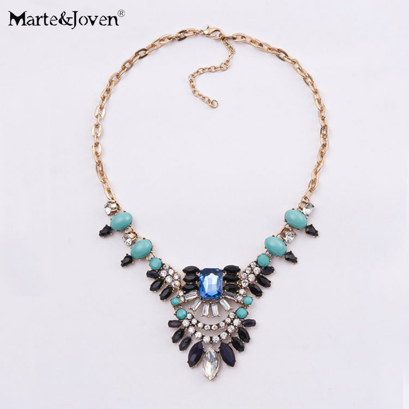 Have An Inquiring Mind [marte&joven] New Trendy Vintage Fine Costume Jewellery Shourouk Style Flower Statement Choker Necklace For Women