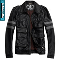 Free shipping Men's bran clothing turn-down collar motorcycle jacket short design fashion plus size jacket coat/M-5XL