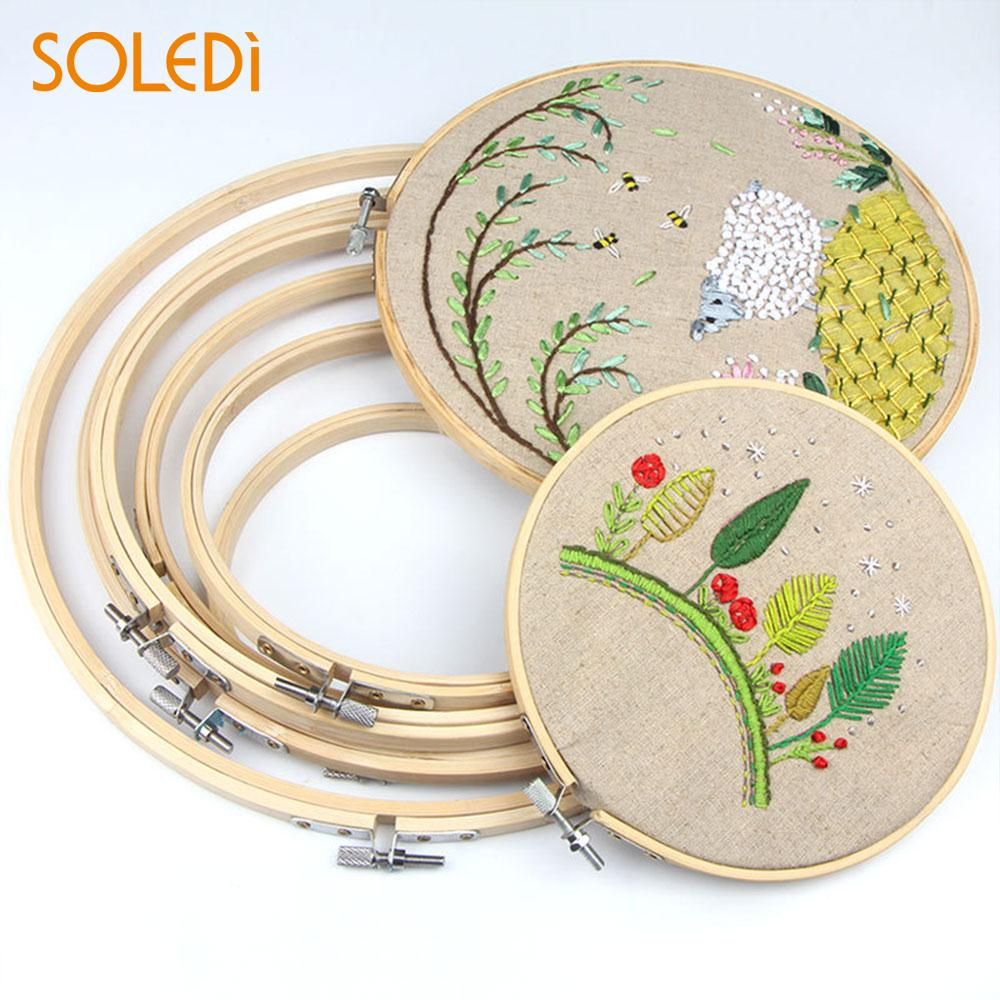 Practical Embroidery Hoop Circle Sewing Ring Round Frame Useful 34CM Bamboo Alloy Light Yellow Gift Teaching Craft DIY