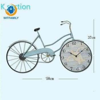 Nordic Personality Fashion Decorations Mediterranean Wall Clock Bicycle Clock European Clock Creative Mute Clock Living Room