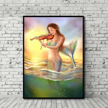 Mermaid Playing Violin AT Sunset Fantasy Canvas Posters Prints Wall Art Painting Oil Decorative Picture Home Decoration Artwork