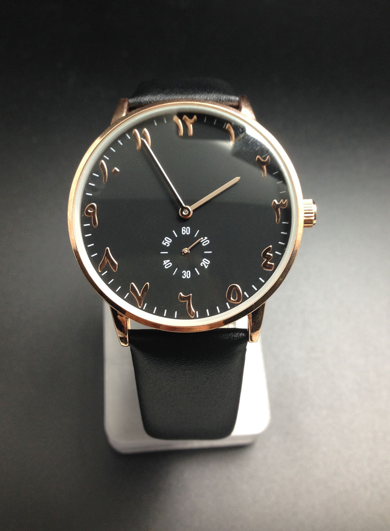 unisex watches genuine leather strap quartz movement rose gold case black dial face