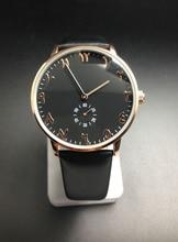 Unisexe montres véritable bracelet en cuir mouvement à quartz boîtier en or rose cadran noir visage