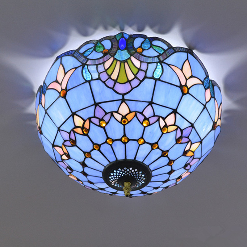 Европейский Синий Барокко потолочный светильник гостиная спальня лампа ресторан проходу потолочный светильник с витражным стеклом