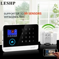 LESHP Wireless GSM Autodial Security Burglar Intruder Alarm Systems Kits Infrared Motion Sensor Door Detector For