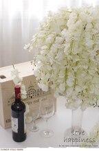 SPR 95 CM Glicine budino arco di nozze piazza rattan simulazione fiori di seta fiori appeso a parete cestino può essere l'estensione