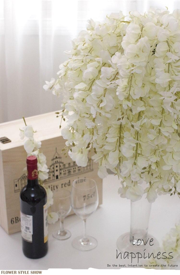 SPR 95CM Wisteria pudink svatební oblouk čtverec ratanový simulace květiny hedvábné květiny nástěnné závěsné koš může být prodloužení