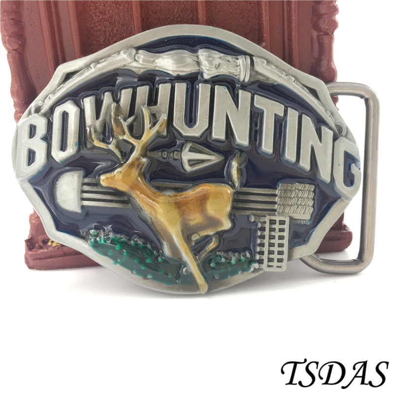 Hunting Belt Buckles With Pewter Finish Suitable For 4cm Width Belt, Colored Deer Belt Buckle Free Shipping 1pc