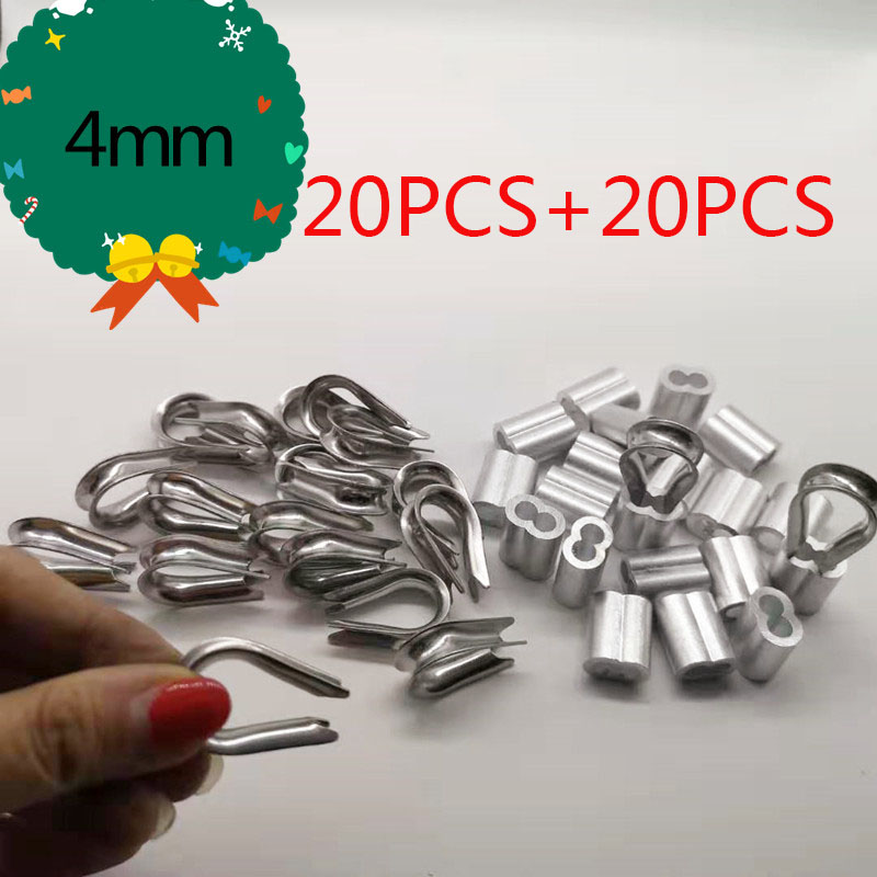 20pcs Diameter 4mm Wire Crimp Sleeves Aluminium Oval Double Hole And Thimble Rope For Wire Rope Crimp