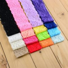 "50pcs/lot 16colors 2"" Elastic Lace Headband Stretchy Hair Band Girls Accessories U Pick Color HD05(China)"