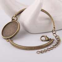 Reidgaller 10pcs antique bronze cabochon base de pulseira blanks fit 20mm rodada configuração cameo bandejas diy pulseiras acessórios