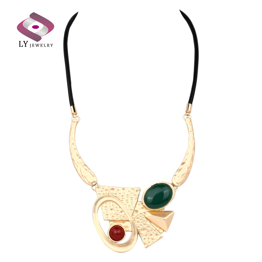 Jewelry Design Ideas be jewelry photo with 1054x1076 px for your bead necklace Leather Bib Necklace For Women Abstract Ideas Geometry Ok Plating Gold Statement Necklace Ly Brand Design
