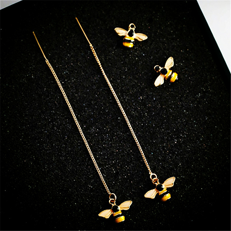 Korean Style Sweet Cute Glaze Yellow Bee Insect Drop Earring for Women Girl Party Charm Statement Jewelry Birthday Gift girl