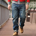 New Arrival Men's Straight Jeans Male Cat Whisker's Large Pants Casual Denim Trousers Plus Size 28-46