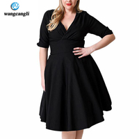Wangcangli 2017Large Size Clothes Women Summer Cotton Dress Super Stretch V Neck Chest Fold Sleeves Plus
