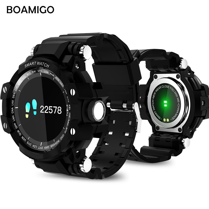 Smart Watches men Sports Wristband BOAMIGO Digital Watches Call Message Reminder pedometer Calories bluetooth waterproof watch wireless service call bell system popular in restaurant ce passed 433 92mhz full equipment watch pager 1 watch 7 call button