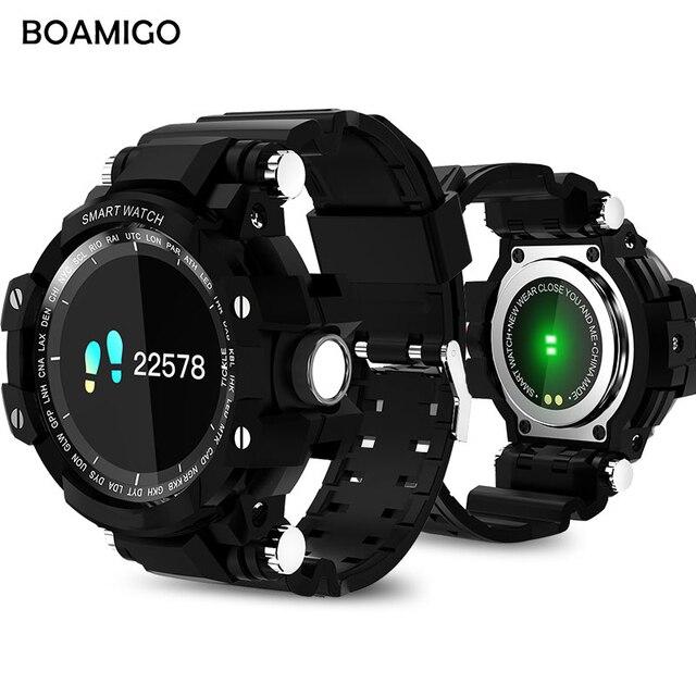Умные часы мужчин спорта браслет Спорт boamigo Винтажные часы вызова сообщение напоминание шагомер калорий bluetooth водонепроницаемые часы