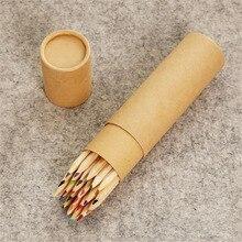 Good quality 24colors barrel packing wood colour pencil box