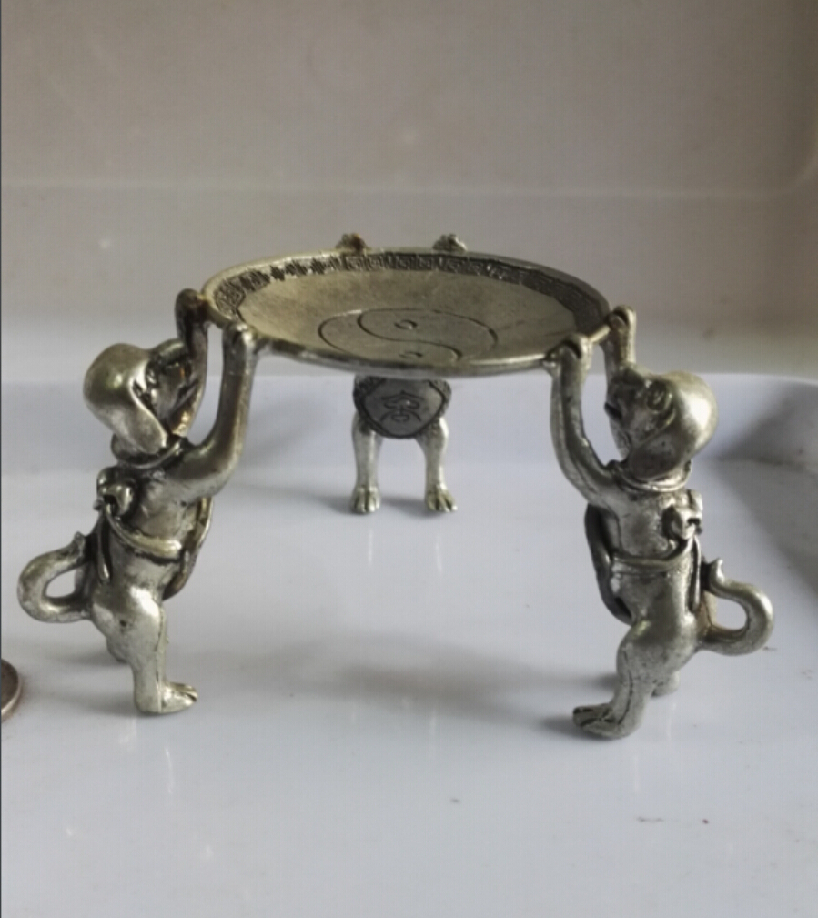 christmas decorations for home+ Collectible Decorated Old Tibet Silver Carved 3 Dog Climb Plate Candle Stick statue/sculpturechristmas decorations for home+ Collectible Decorated Old Tibet Silver Carved 3 Dog Climb Plate Candle Stick statue/sculpture