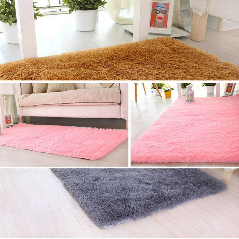 Long Plush Area Rug Bedroom Rugs And Carpet Silky livingroom Floor ...