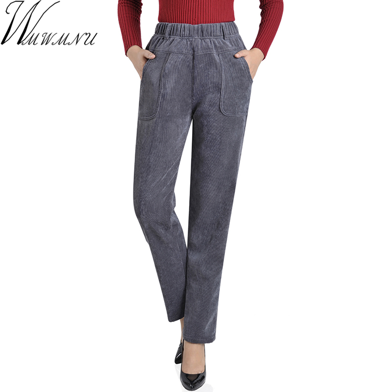 Warm Corduroy Women Winter Thickening Pants Casual Plus Size 5XL High Waist Elastic Femme Woman Loose Black Add Velvet Pants