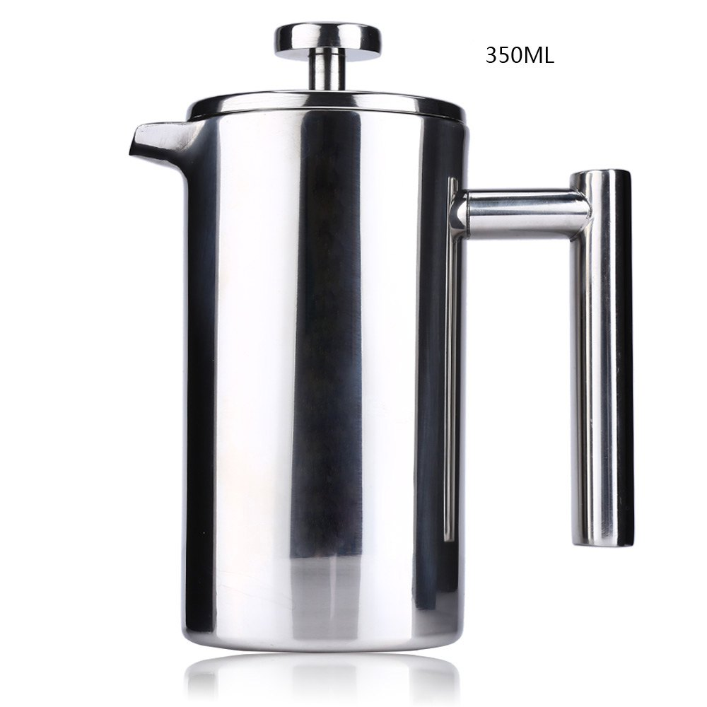 350ML Espresso Coffee Maker Pot Practical Stainless Steel Cafetiere Double Wall Insulated Tea Coffee Maker with Filter for Home one piece practical stainless steel double fork cuticle nipper nail tool