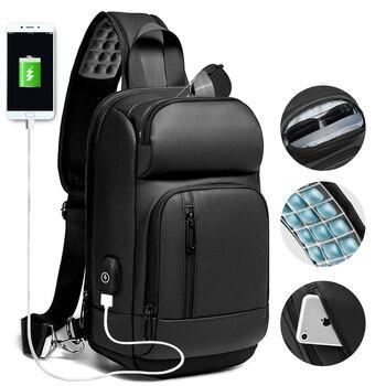 51dabd31a545 EURCOOL Черные нагрудные пакеты для мужчин зарядка через usb повседневные  сумки через плечо водоотталкивающая дорожная сумка для мужчин n1820
