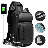 EURCOOL Black Chest Packs Men USB Charging Casual Shoulder Crossbody Bags Water Repellent Travel Messenger Bag Male n1820