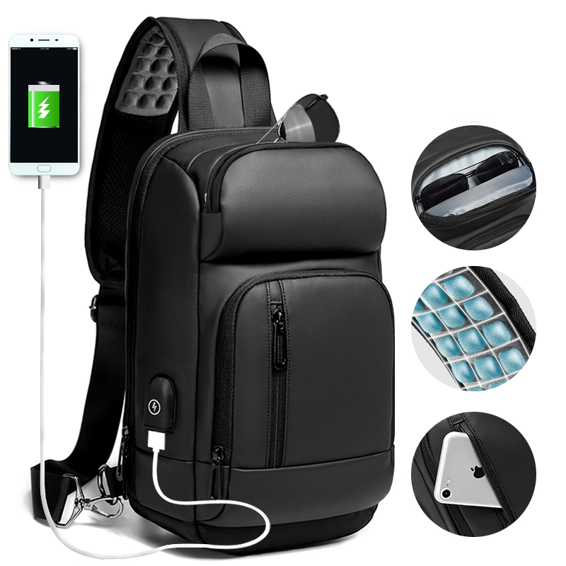 NIGEER Zwarte Borst Pakken Mannen Toevallige Schoudertas Crossbody Tas USB Opladen Borst Tas Waterafstotend Reizen Messenger Bag Mannelijke n1820