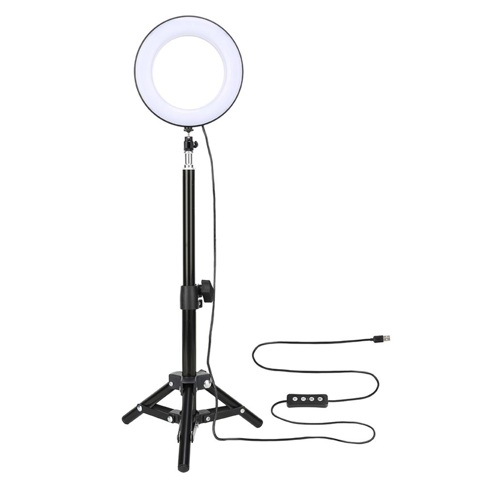 6inches Selfie Light With Tripod Stand Desktop LED Lamp Cell Phone Holder Metal Holder For Universal Mobile Phone