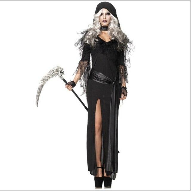 acb353aadfc Хэллоуин для взрослых Для женщин смерть Косплэй костюм черный длинное платье  Смерть костюм карнавал-маскарад