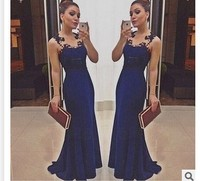 Luxury Navy Blue Evening Dresses 2017 V Neck Appliques Lace Slim Long Women Pageant Dress Formal