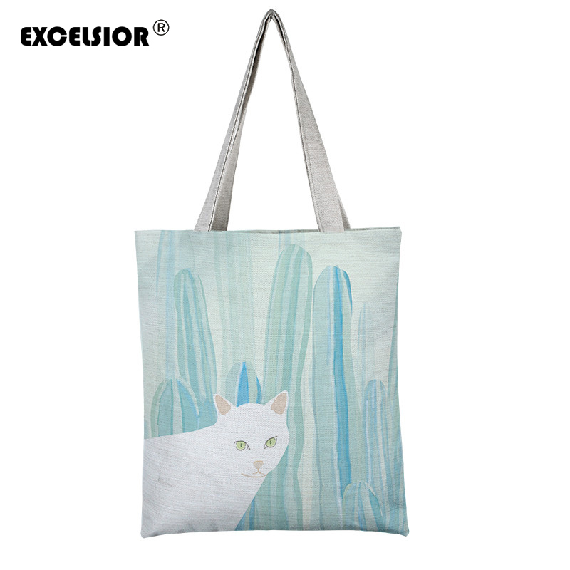 EXCELSIOR cartoon cat prints shoulder bag ladies large capacity female shopping bag canvas handbag summer beach bag lady Bolsos large 24x24 cm simulation white cat with yellow head cat model lifelike big head squatting cat model decoration t187