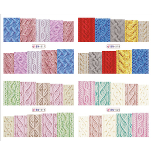 12 шт./компл. Красота свитер ткань узор Стикеры для ногтей, переводятся с помощью воды Стикеры s ногти наклейки цветные этикетки JIBN517-528