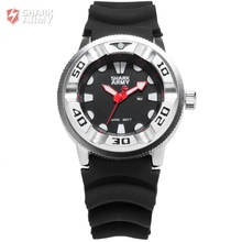 Shark Army Date Red Hands Electroplate Case Outdoor Sports Silicone Band Mens Gent Water Resistant Quartz Military Watch /SAW103