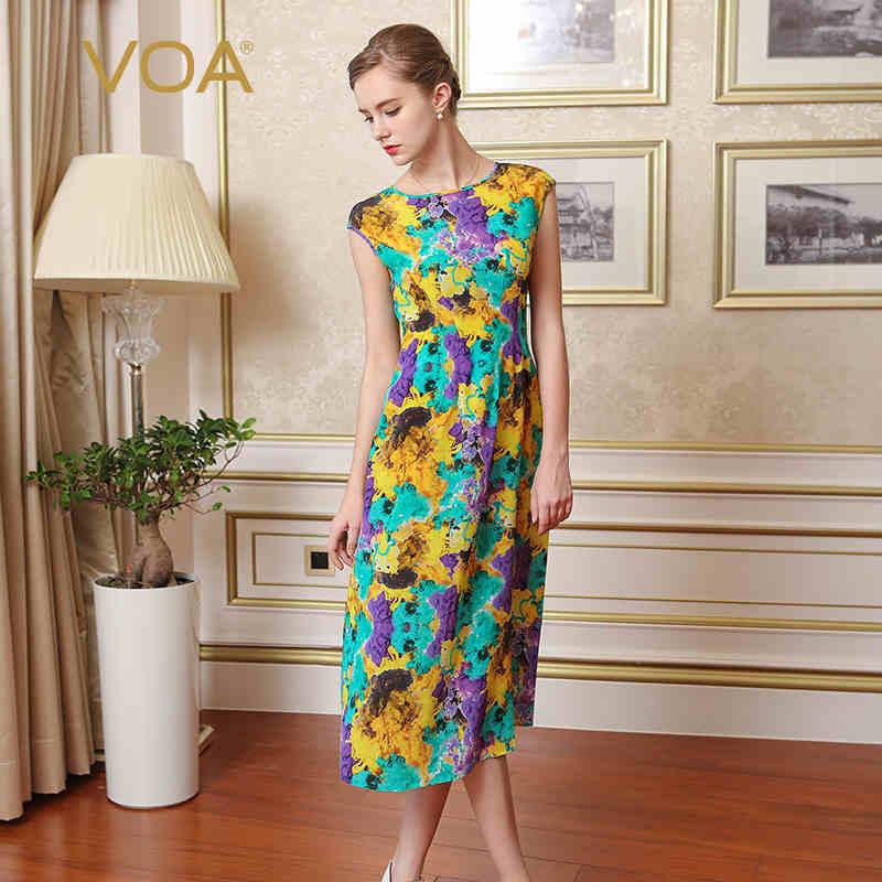 VOA 2018 printemps été grande taille multicolore Boho imprimer Slim robe en soie femmes doux mignon taille haute décontractée longue robe A7268