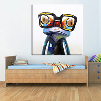 Hand Painted Frog Modern Wall Art Animal Oil Painting Wall Decorative Canvas Art Picture for living room Home Decor Posters