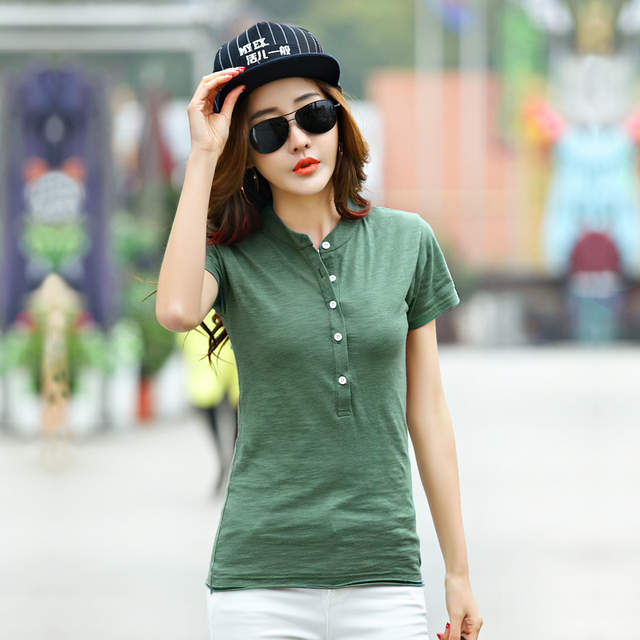 Summer Cotton Slim Short Sleeve Polo Shirts For Women Causal Solid Women s  Polo Shirt Fashion Ladies 6942a10d6a5f