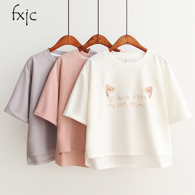 White Pink Color Harajuku Tshirt Women Kawaii Cotton Short Sleeve Casual Tops Tees Clothing Korea Summer Tees T1
