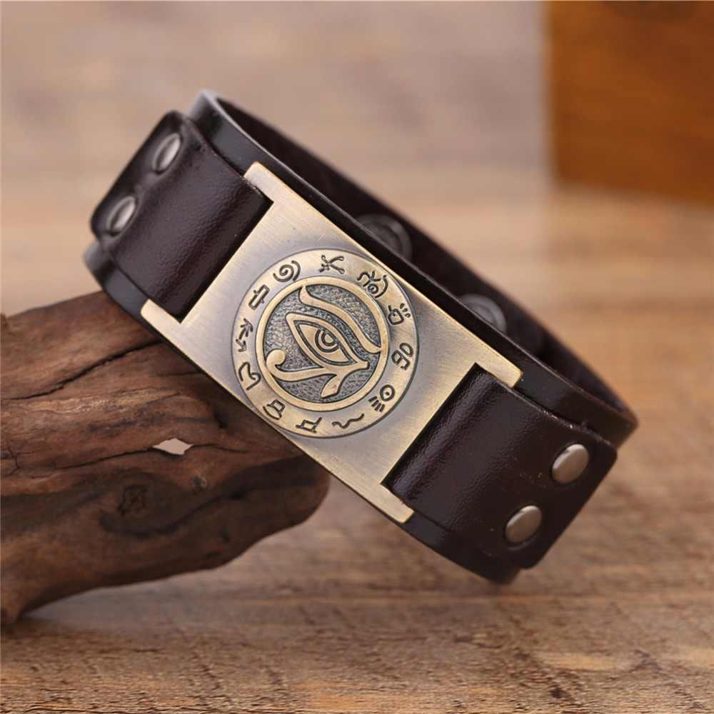 Teamer Bracelet mauvais oeil d'horus égyptien en cuir véritable bijoux amulette surnaturel Talisman noir/marron pour homme