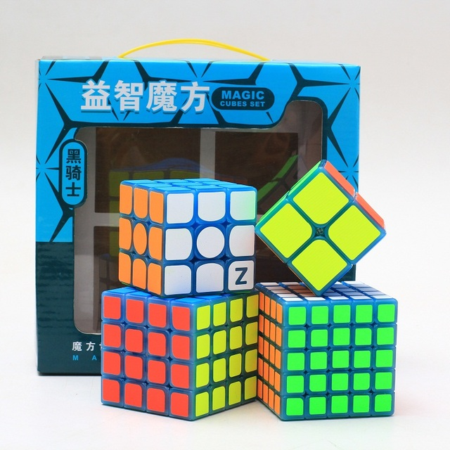 New ZCUBE Bundle 2x2x2 3x3x3 4x4x4 5x5x5 Magic Speed Cube Puzzle 4PCS/Set Gift Pack luminous blue Professional Educational Toys